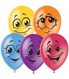 """Воздушные шары,  50шт., М12/30см, Поиск """"Улыбки"""", пастель+декор"""