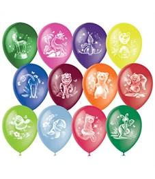 """Воздушные шары,  50шт., М12/30см, Поиск """"Веселый зоопарк"""", ассорти, пастель+декор, растровый рисунок"""