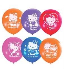 """Воздушные шары,   5шт., М12/30см, Поиск """"Hello Kitty"""", пастель+декоратор, Х-107, европодвес"""