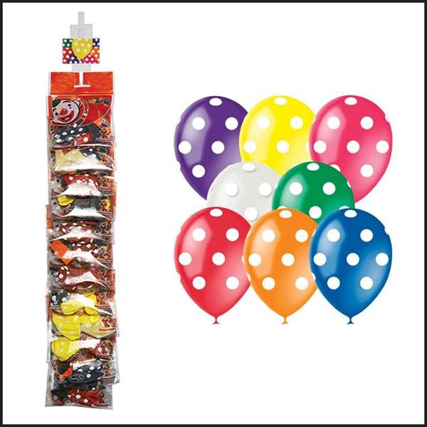 """Воздушные шары,   5шт., М12/30см, Поиск """"Яркий горошек"""", декоратор, европодвес, стриплента"""