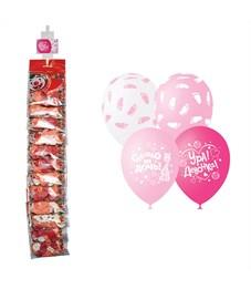 """Воздушные шары,   5шт., М12/30см, Поиск """"К рождению девочки"""", пастель+декор, ассорти, европ,стрип."""