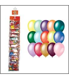 Воздушные шары,   8шт., М9/23см, Поиск, металлик+преламутр, ассорти, европодвес, стриплента