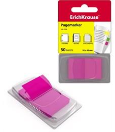 Закладки пластиковые с клеевым краем ErichKrause® Neon в диспенсере, 25х43 мм, 50 листов, розовый