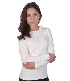Джемпер для девочки Снег молочный с рюшкой по вороту и стразами, длинный рукав