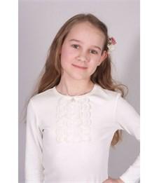 Джемпер для девочки Снег белый со вставками и рюшами, длинный рукав